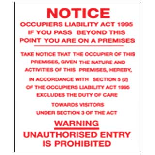 Prohibition Safety Signs Notice Occupiers Act Sign Plastic Pro10
