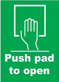 Emergency Notice Signs Emergency Push Pad To Open Sign Plastic Eme14