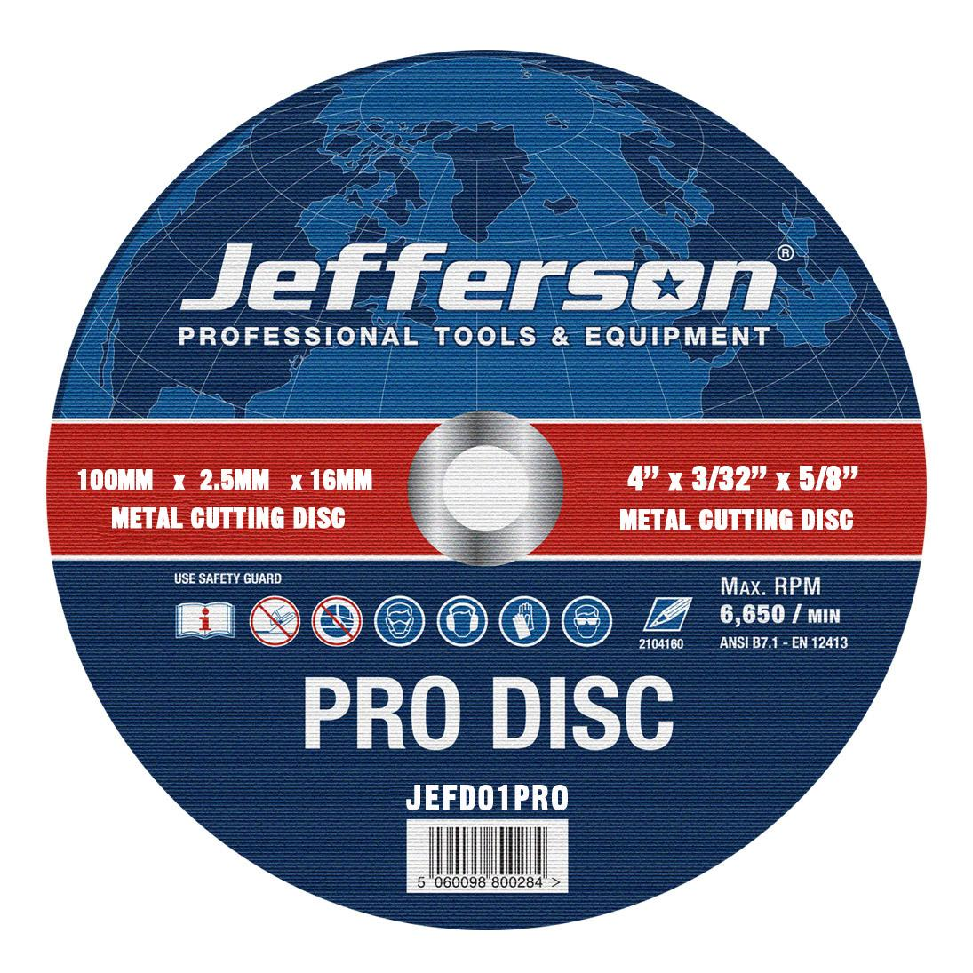 "4"" Metal Cutting Abrasive Disc 16mm Bore Jefd01pro"