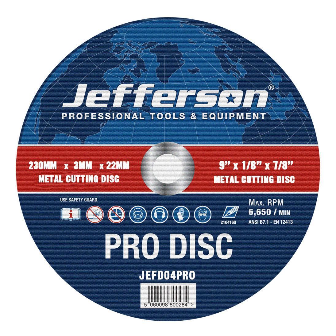 "9"" Metal Cutting Abrasive Disc 22mm Bore Jefd04pro"