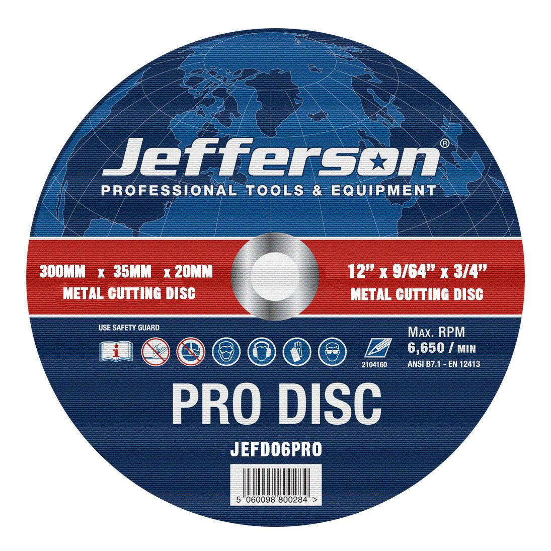 "12"" Metal Cutting Abrasive Disc 20mm Bore Jefd06pro"