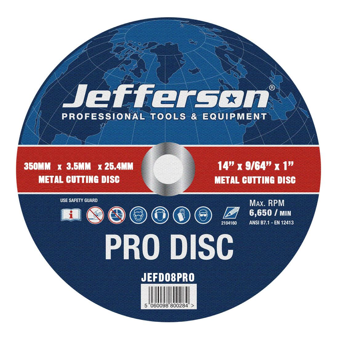 "14"" Metal Cutting Abrasive Disc 25.4mm Bore Jefd08pro"