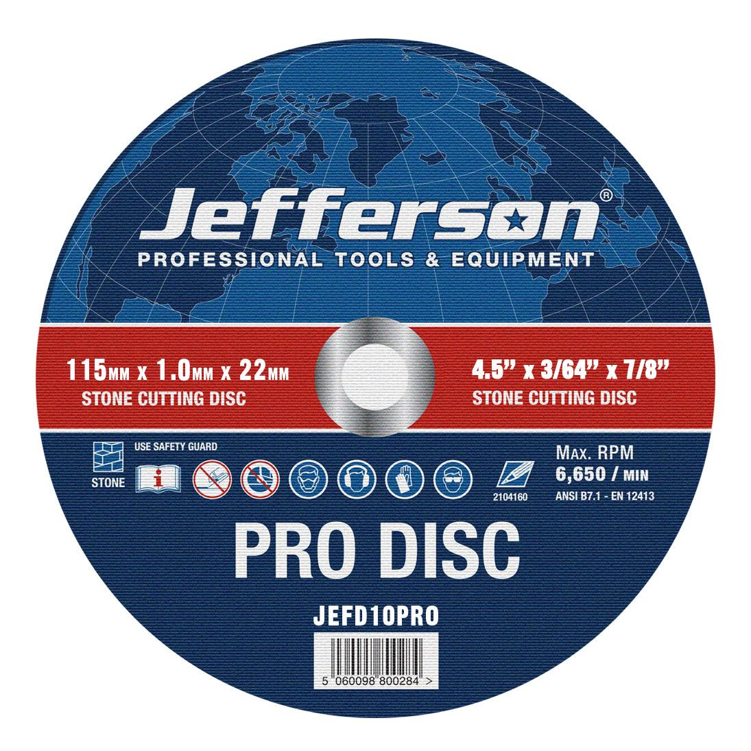 "4.5"" Stone Cutting Abrasive Disc 22mm Bore Jefd10pro"