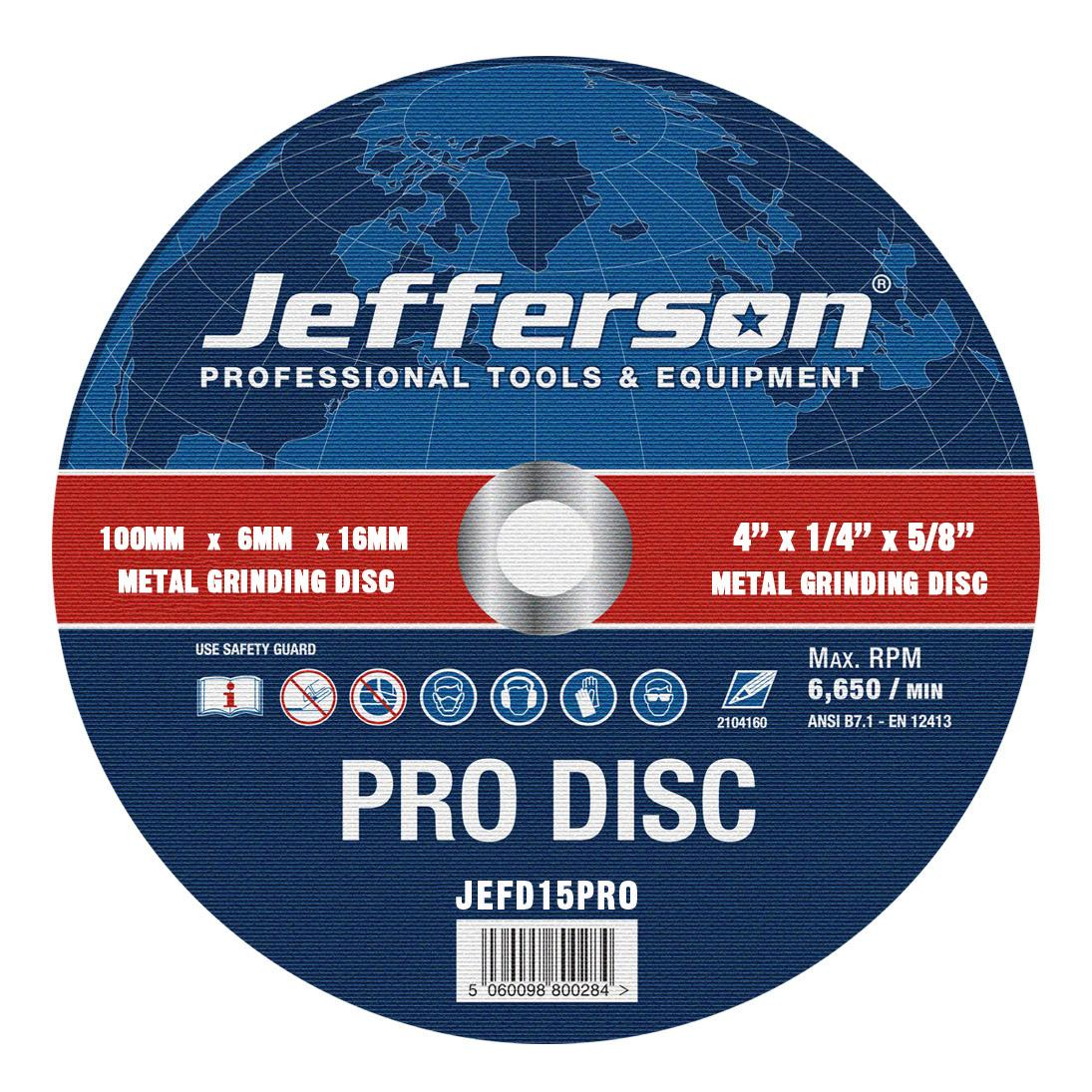 "4"" Metal Grinding Abrasive Disc 16mm Bore Jefd15pro"