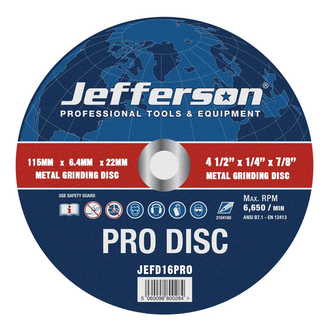 "4.5"" Metal Grinding Abrasive Disc 22mm Bore Jefd16pro"