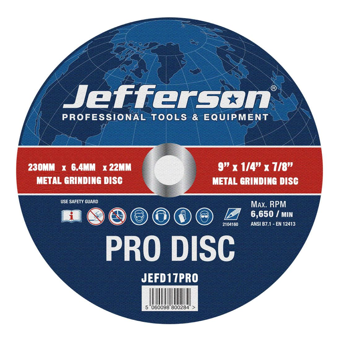 "9"" Metal Grinding Abrasive Disc 22mm Bore Jefd17pro"