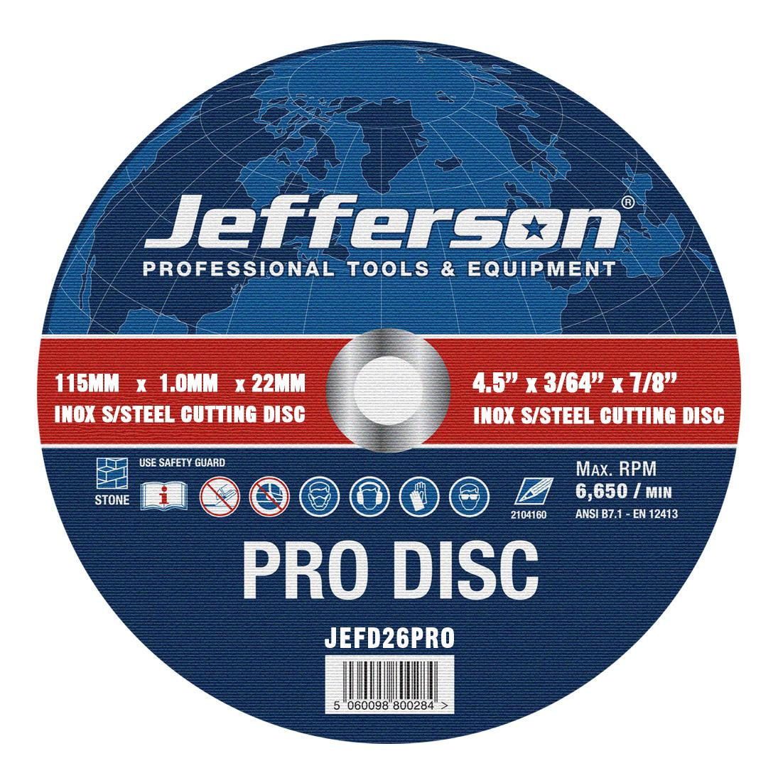 "4.5"" X 1.0mm Inox Cutting Disc 22mm Bore Jefd26pro"