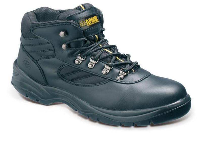 Ap303 Size 7 Black Leather Safety Hiker (sterling Safety)