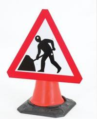 Cone Mounted Signs (gb & Ni ) Road Works Ahead 750mm Con2