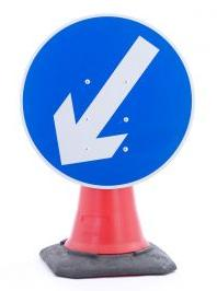 Cone Mounted Signs (gb & Ni ) Directional Arrow Left 750mm Con6