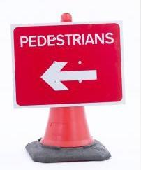 Cone Mounted Signs (gb & Ni ) Pedestrian Left Cone Sign 600mm X 450mm Con7
