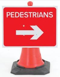 Cone Mounted Signs (gb & Ni ) Pedestrian Right Cone Sign 600mm X 450mm Con8