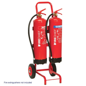 Mobile Fire Point Storage For 2 Extinguishers And 1 Fire Bucket. Made From Mild Steel Tube And Powder Coated.