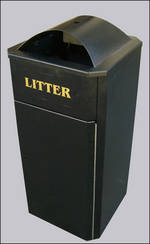 Freestanding Litter Bins Heavy Duty Curved Top Street Bin Para026