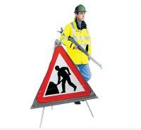 Roll Up Road Signs Road Works Ahead 750mm Rol9
