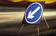 Roll Up Road Signs Directional Arrow Left 750mm Rol14