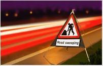 Roll Up Road Signs Road Works Ahead C/w Road Sweeping Supp 750mm Rol6