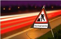 Roll Up Road Signs Road Works Ahead C/w Overhead Works Supp 750mm Rol7