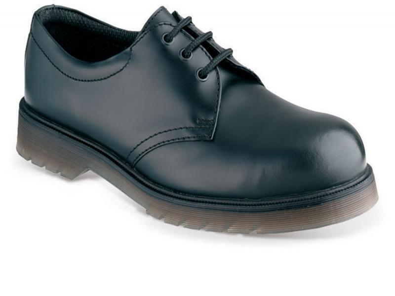 Ss100 Size 4 Black Leather 3 Eyelet Non Safety Shoe. (sterling Safety)
