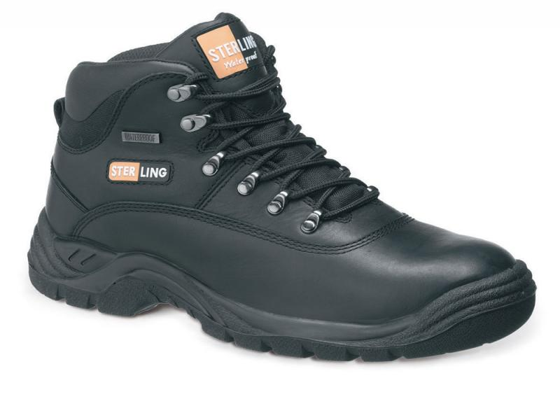 Ss812sm Size 4 Black Leather Waterproof Hiker (sterling Safety)