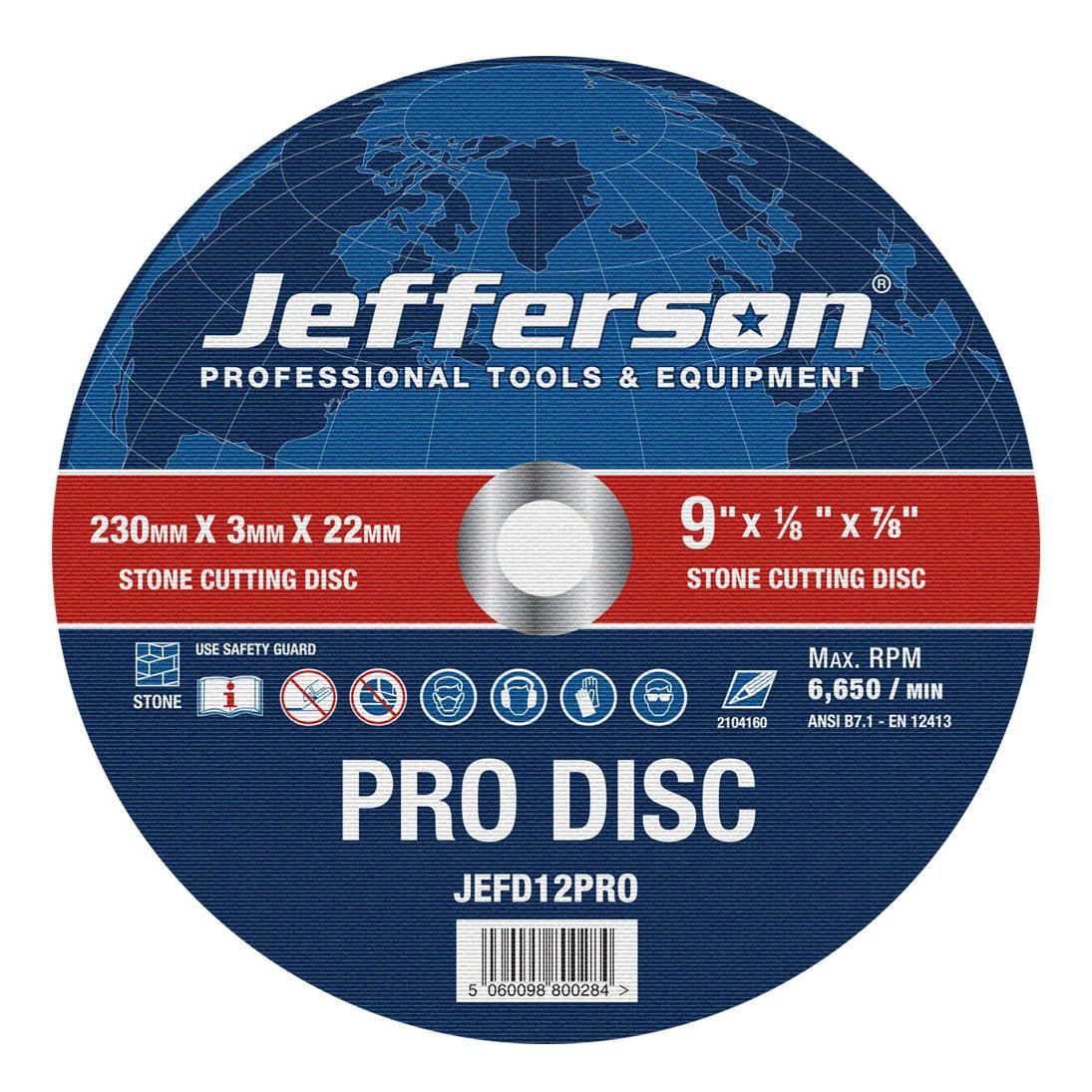 "9"" Stone Cutting Abrasive Disc 22mm Bore Jefd12pro"