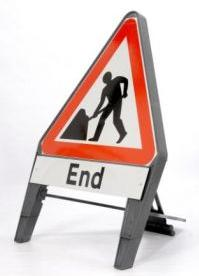Temporary Plastic Q Road Signs Road Works Ahead C/w End Supp 750mm Tem3