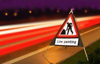 Roll Up Road Signs Road Works Ahead C/w Line Painting Supp 750mm Rol4