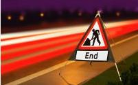 Roll Up Road Signs Road Works Ahead C/w End Supp 750mm Rol2