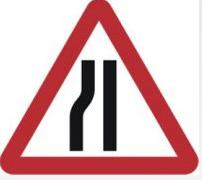 Triangular Road Sign Plates Plates Road Narrows Nearside 600mm Tra33