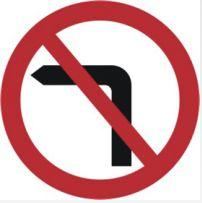 Signage Square Road Sign Plates No Left Turn 600mm Tra80